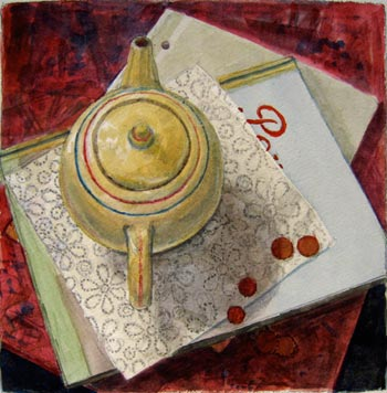 Teapot/Percorso, watercolor on paper, 2012 by visiting artist Daniel Dallmann