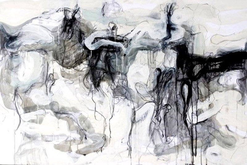 "Teresa Schmidt. ""Solitude"". Graphite and acrylic on board. 36""x60"". 2010"