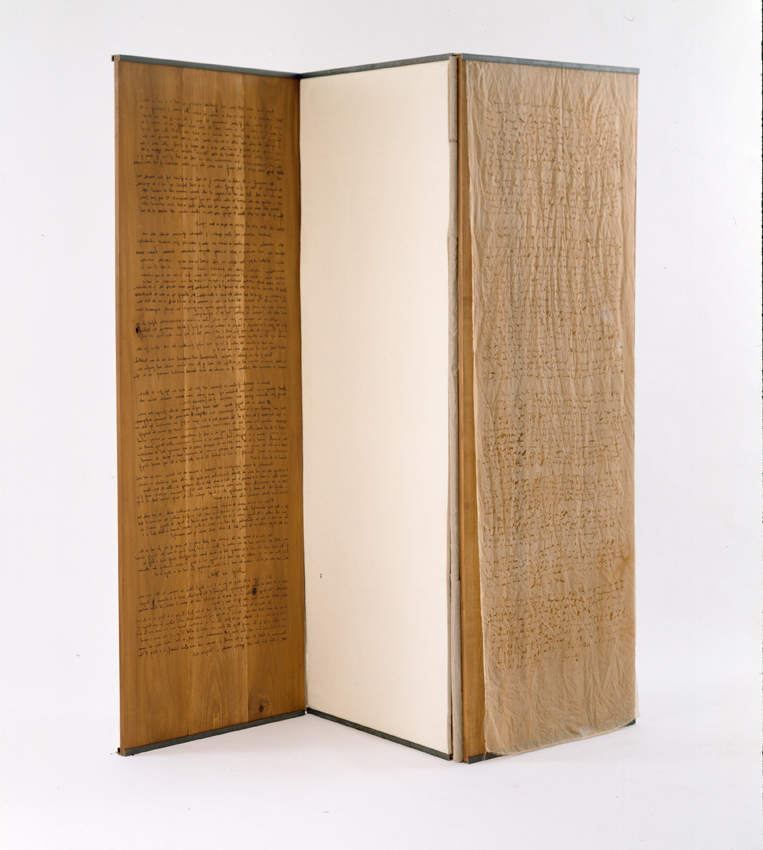 "Gerry Craig. ""For Martin Heidegger: Poetry, Language, Thought"" (View 2). Burned Silk Chiffon, Wood, Felt, Linen, Steel"