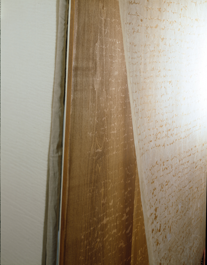 "Gerry Craig. ""For Martin Heidegger: Poetry, Language, Thought"" (View 3). Burned Silk Chiffon, Wood, Felt, Linen, Steel"
