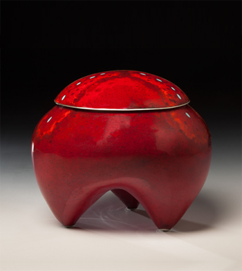 """Red Moss Container"" by visiting artist Sarah Perkins"