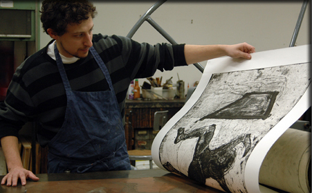 "Jason Scuilla printing ""The Artist"""
