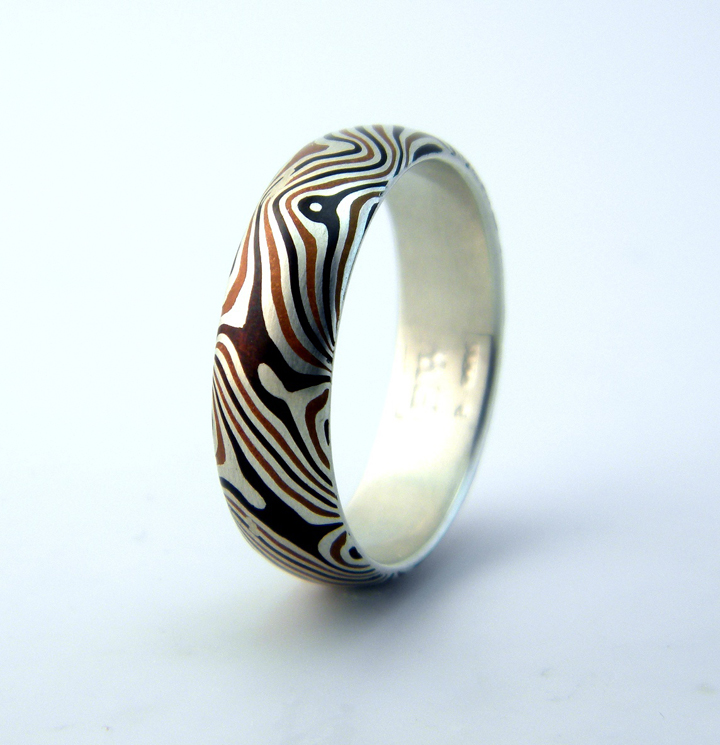 "Star Pattern Ring"", sterling silver and copper shibuishi mokume gane by Visiting Artist Eric Burris"