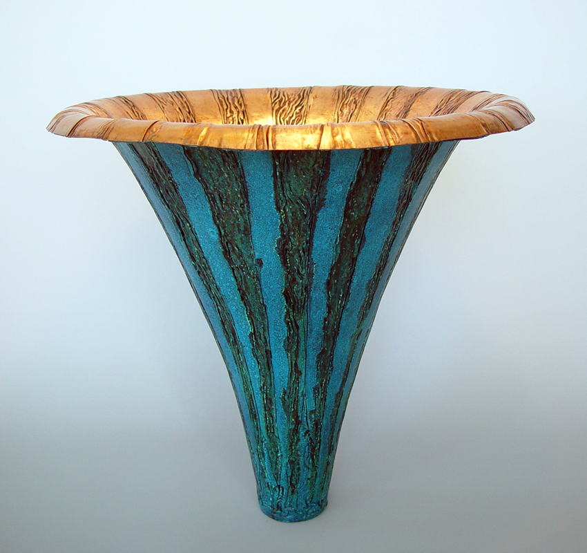 "Elliott Pujol. Blue Michaelis. Copper with Blue Patina 15.5""x16"""