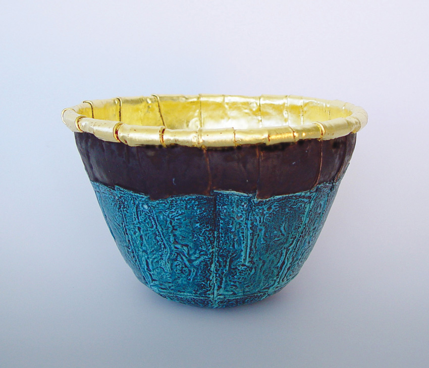 "Elliott Pujol. ""Double Vessel"". Copper with 23k Gold Foil"