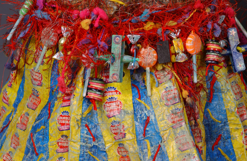 "Lynda Andrus. ""Sweet Treat Series"". Fabric, Candy, Wrappers, Found Objects, and Paint. 2006"