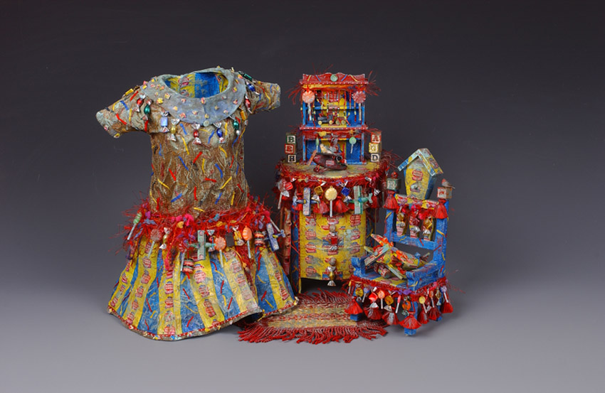 "Lynda Andrus. ""Sweet Treat Series"". Fabric, Candy, Wrappers, Found Objects, and Paint. 2001"